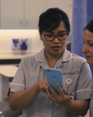 NHS staff using Google DeepMind's Streams app on an iPhone